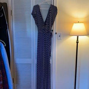 Navy and white striped maxi dress. JCrew size M.